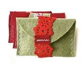 Christmas Holiday Gift Wrap for soap bar - Handmade gift pouch, stocking stuffers, eco-friendly, Christmas gift