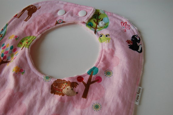 Baby Toddler Bib, READY to SHIP, Critters in Pink and Pink Minky Dot