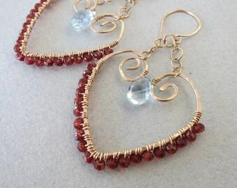 Wire Wrapped Blue Topaz and Garnet Chandelier Earrings