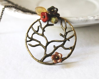 Tree Necklace. branch necklace. fall tree necklace. woodland necklace. autumn tree and flower necklace