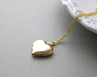 Gold Heart Locket Necklace. heart locket necklace. anniversary birthday gift
