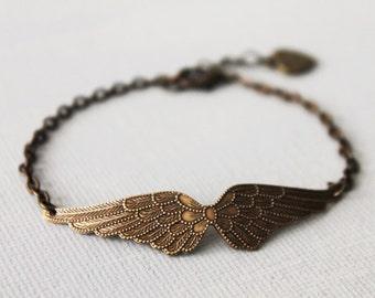 Angel Wing Bracelet.  brass ox Vicrorian angel wing. wing bracelet. friendship birthday.