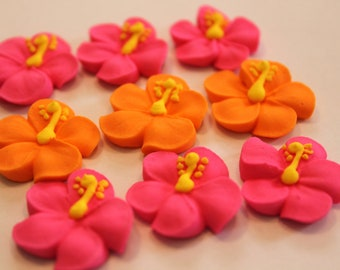 Hibiscus royal icing  sugar flowers LOT of 100