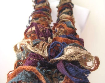 Scarf - Brown and Purple, Navy Blue, Forest Green Frilly Scarflette, Neck Tissue, Rag, Neckwarmer, Foulard - Gift for Her - READY TO SHIP