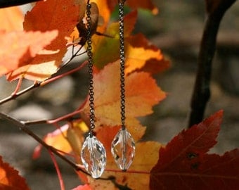 Faceted Elongated Quartz Crystal, with Long Oxidized Sterling Chain, Dangle Earrings