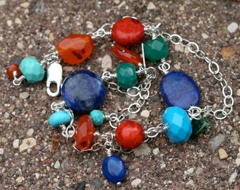 Colorful Multi Stone and Sterling Silver Chain Wire Wrapped Bracelet