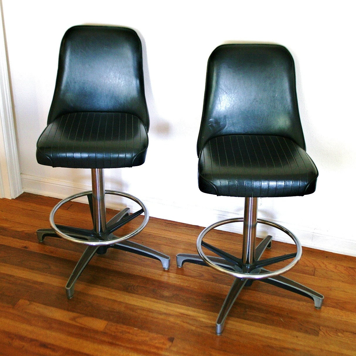 Pair Of Mid Century Chromcraft Swivel Stools Black Vinyl