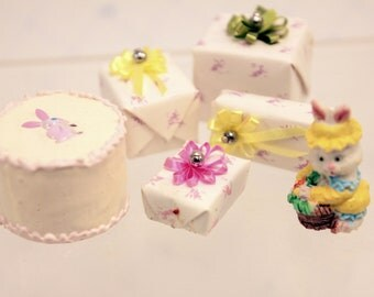 Miniature Dollhouse Easter Party Cake Gifts Decorations