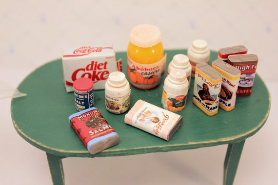 Lot Miniature Canned Food Groceries Dollhouse