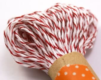 RED and White Bakers Twine String for crafting, gift wrapping, packaging, invitations - 15 yards