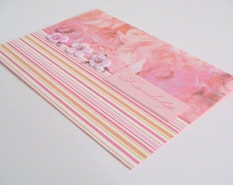 Pink Rose and Pink Orange and Ivory Striped One of a Kind Handmade Stamped Friendship Greeting Card with Cherry Blossoms - Friendship