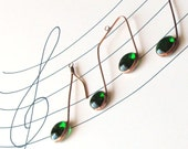 Three Glass Musical Notes Emerald Green Green and Copper Suncatcher Ornaments