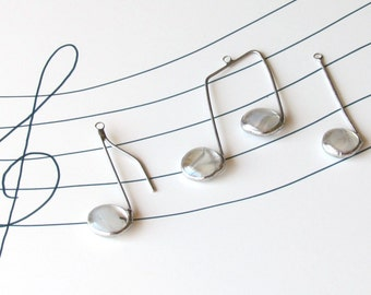 Three Glass Musical Notes White and Silver Suncatcher Ornaments