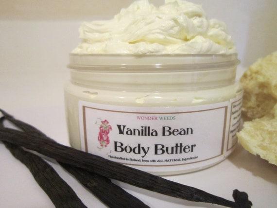 Organic Vanilla Bean Body Butter, Deeply Nourishing and Moisturizing, NATURALLY  Deliciously SCENTED