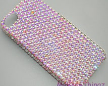 Iridescent Crystal AB - Aurora Borealis - Diamond Rhinestone BLING Back Case for Apple iPhone 5 5S handmade with 100% Swarovski Elements