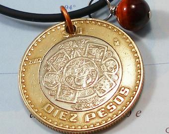 Mexico, Authentic Coin Necklace - - Sun God, Tonatiuh - - Aztecs - Mythology - World Travel - UpCycled Jewellry - Men