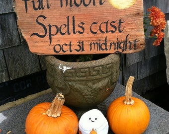 Rustic Driftwood Halloween Full Moon Sign, Oct 31, Witches, Fall Home And Living Decor