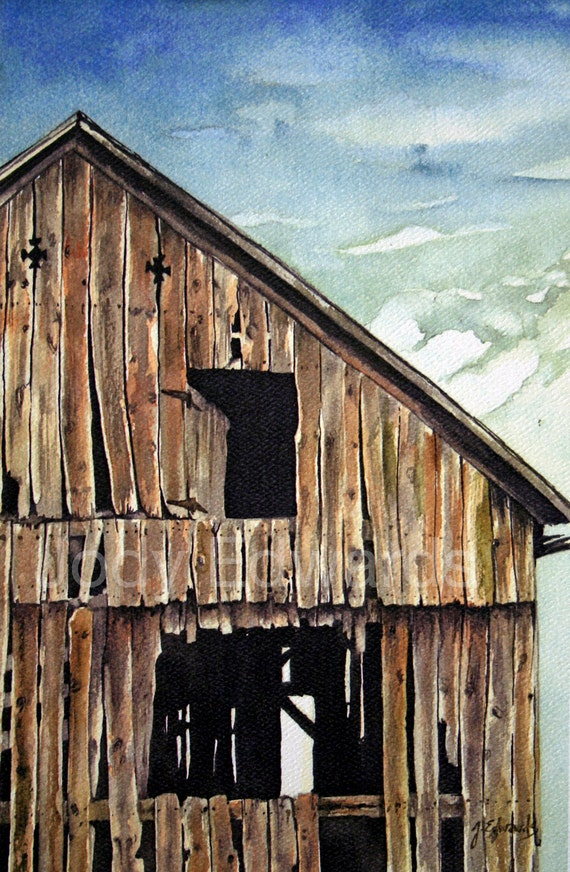 Barn Watercolor Old Magic Archival Quality