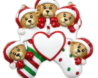 Personalized Christmas Bear Family of Five Stocking Ornaments-Triplets- Grandkids, Co-workers, Friends