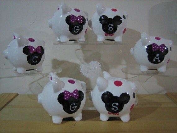 Personalized Disney Minnie And Mickey Mouse Party Favor Piggy