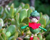 Christmas Elf Ornament with Acorn Hat and Felted Ball