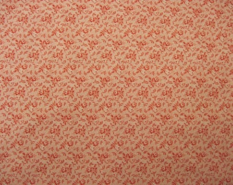 Red and White Small Print Fabric  3/4 yd.