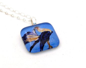 Caracara Portrait Glass Pendant Necklace