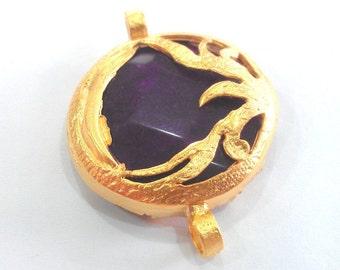 Gold Pendant Purple Connectors ,  Gold Plated Brass  Bezel , Pendants  G777