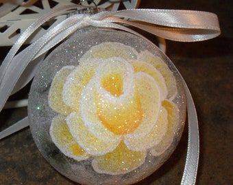 Shabby Cottage Chic Victorian Yellow Rose Sparkle HP Set of 4 Christmas Ornaments New