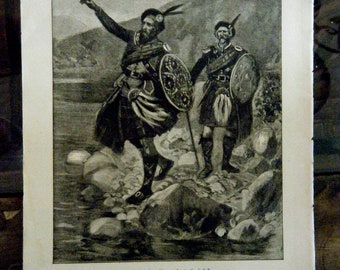"""Framable Engraved Illustration of """"The Loch of the Swords"""", Scottish Clan Legend, Highlanders, Burns Supper Decor, circa 1908"""