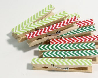 Clothespins.  Set of Ten. Red and Two Green Chevron