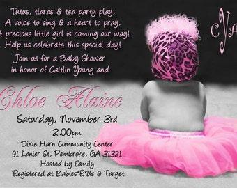 TUTU & LEOPARD Hat Baby Shower Invitation for GIRL
