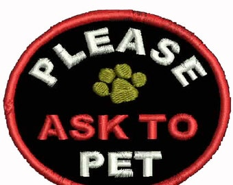 Ask to Pet Patch Service Dog Vest Patches  Assistance Dog Support
