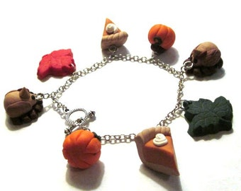 Thanksgiving Charm Bracelet - Holiday Jewelry - Polymer Clay Food and Animals - Handmade - Unique - Pumpkin Pie - Turkey - Pumpkin - Leaves