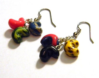 Jelly Bean Every Flavor Bean Small Cluster Dangle Earrings - Candy Food Theme - Gifts Under 20, 25, 50