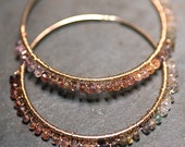 GINA Amber Rose- Multi Colored Sapphire 14 kt Large Gold Fill Hoops