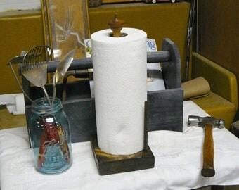 paper towel holder made from vintage spindle
