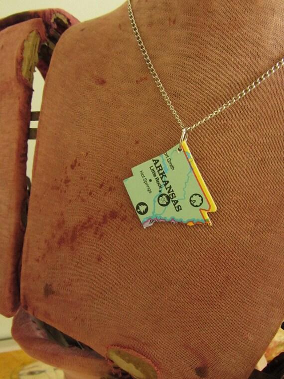 ARKANSAS State Pendant Necklace - Repurposed Vintage USA State Puzzle Piece