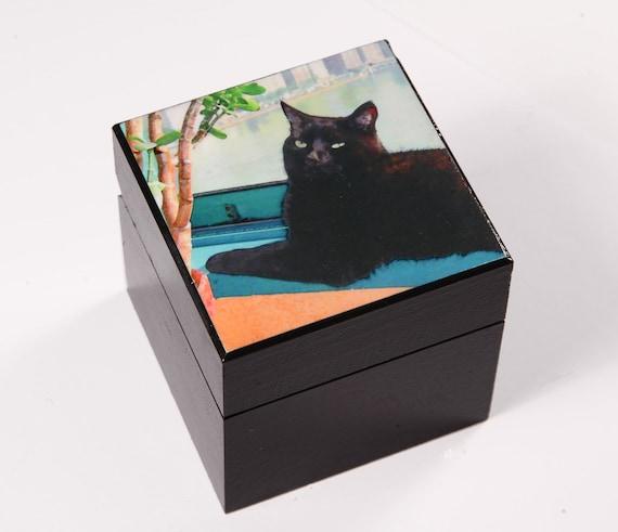 Large Keepsake Box, Cat Lover Gift, Black Cat, Pet Memorial, Wooden Box, Cat Artwork, Black Cat Art, Deborah Julian