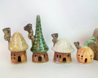 Fairy Houses - Set of 4 - Handmade, Wheel Thrown - Made to Order