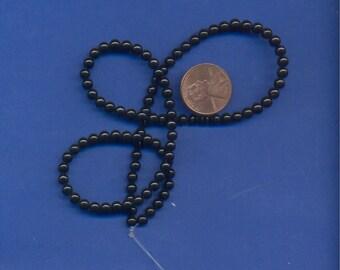 16 Inch Strand of Black Onyx 4mm Beads