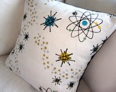 Atomic Starburst Barkcloth Mid Century Pillow Cover - Premium Reproduction Fabric - Many Sizes Available