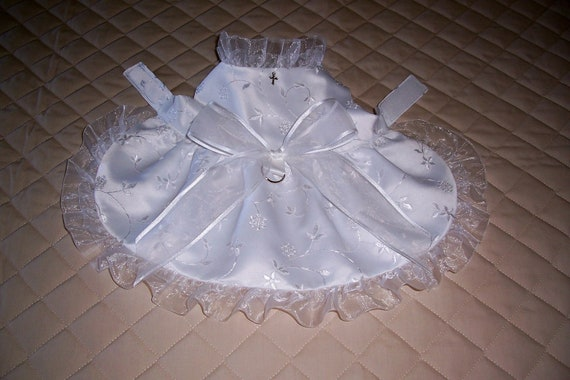 XS - S White Embroidered Satin Wedding Dog Dress Pets Apparel