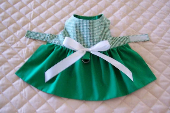 XS-S Handmade Green and Check Dog Dress Pets Clothing