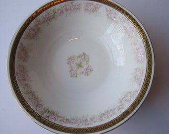 Antique Ohme Pink Green Floral Round Serving Bowl