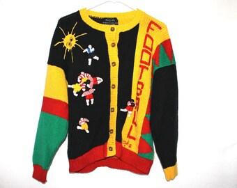 CLEARANCE SALE Kooky 1980s Football Cardigan Sweater