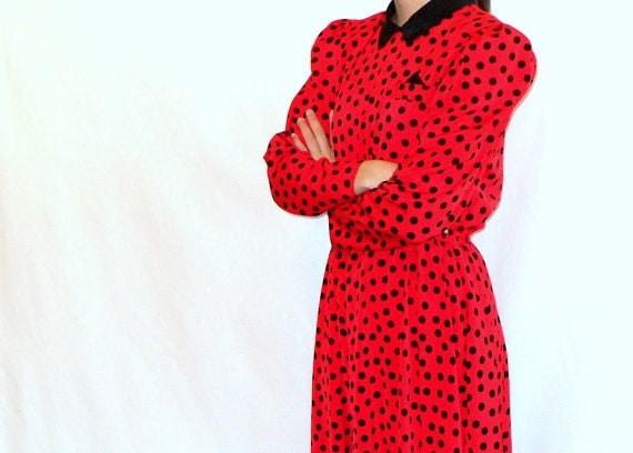 SALE Indie 80s does 50s Rockabilly Red Vintage Dress