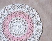 Pink Ice Crochet Lace Doily, Cottage Chic Home Decor, Original Design