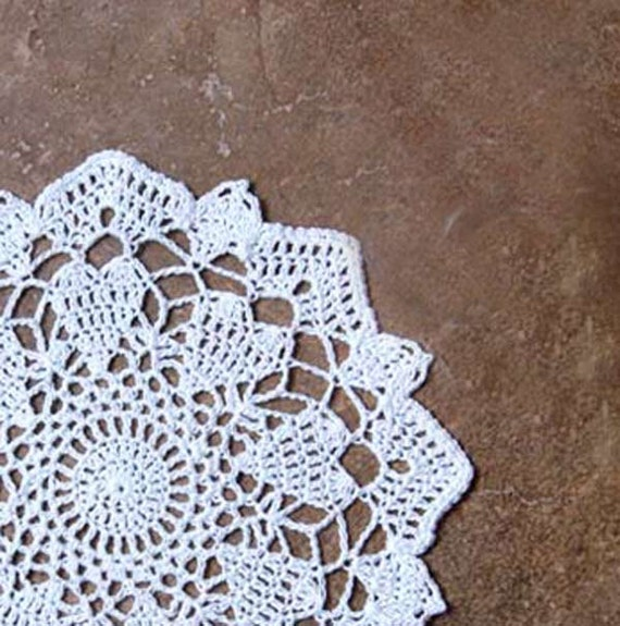 Love Hearts and Lace Crochet Doily, Home Decor, Fiber Art, Original Design by NutmegCottage