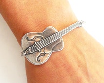 Steampunk Guitar Bracelet- Sterling Silver Ox Finish